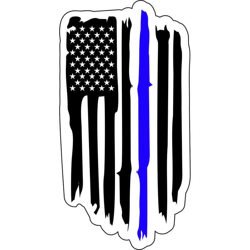 Tactical Gear Junkie Stickers Distressed USA Flag Thin Blue Line - 5x2.5 inch Sticker