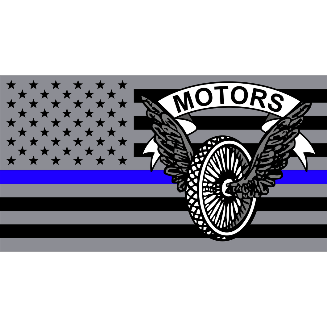 Police Motors USA Flag Thin Blue Line - 4.5x2.5 inch Sticker