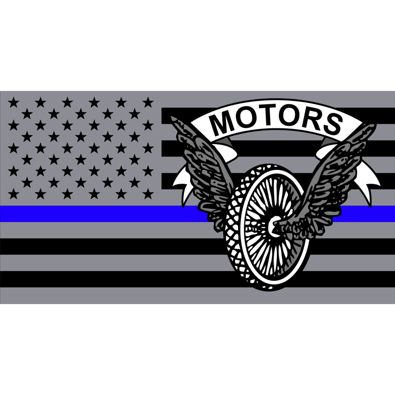 Tactical Gear Junkie Stickers Police Motors USA Flag Thin Blue Line - 4.5x2.5 inch Sticker