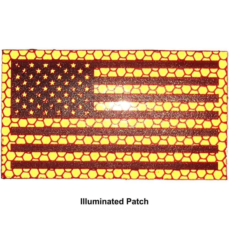 Reflective Printed Red/Black USA Flag - 2x3.5 Patch