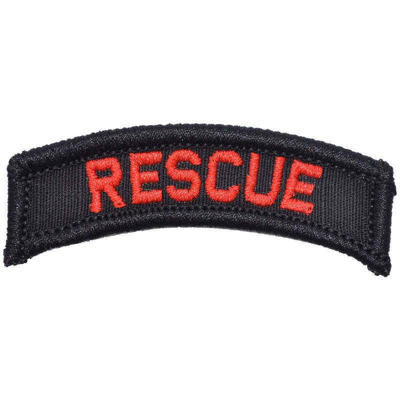 Tactical Gear Junkie Patches Black w/ Red Rescue Tab Patch