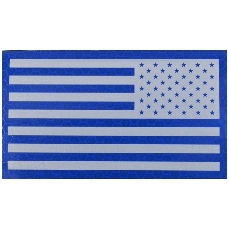 Tactical Gear Junkie Patches Reverse Reflective Printed Blue/White USA Flag - 2x3.5 Patch