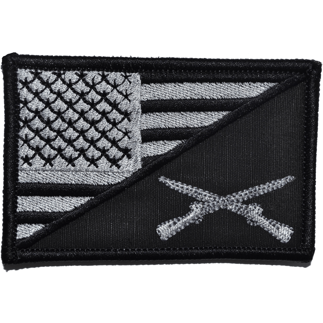 Rifle Cross Infantry USA Flag 2.25 x 3.5 inch Patch