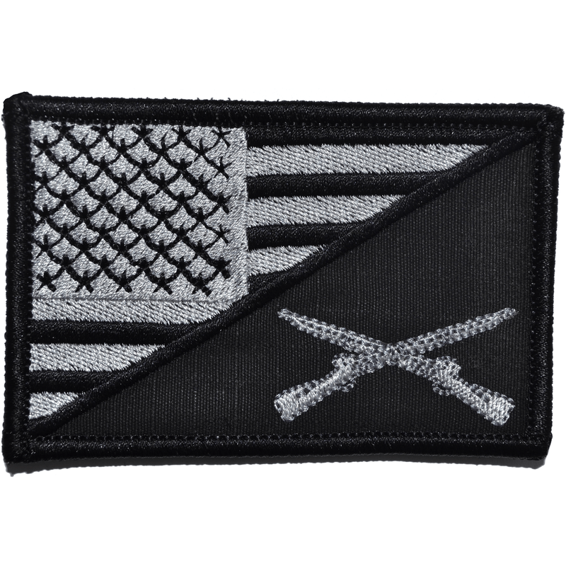 Tactical Gear Junkie Patches Black Rifle Cross Infantry USA Flag - 2.25x3.5 Patch