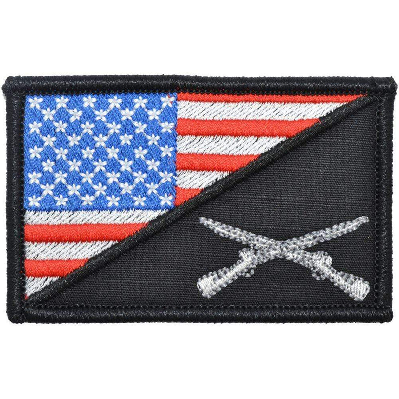 Tactical Gear Junkie Patches Full Color Rifle Cross Infantry USA Flag - 2.25x3.5 Patch