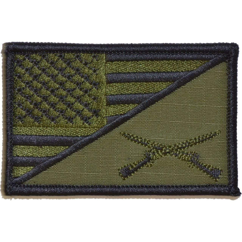 Tactical Gear Junkie Patches Olive Drab Rifle Cross Infantry USA Flag - 2.25x3.5 Patch