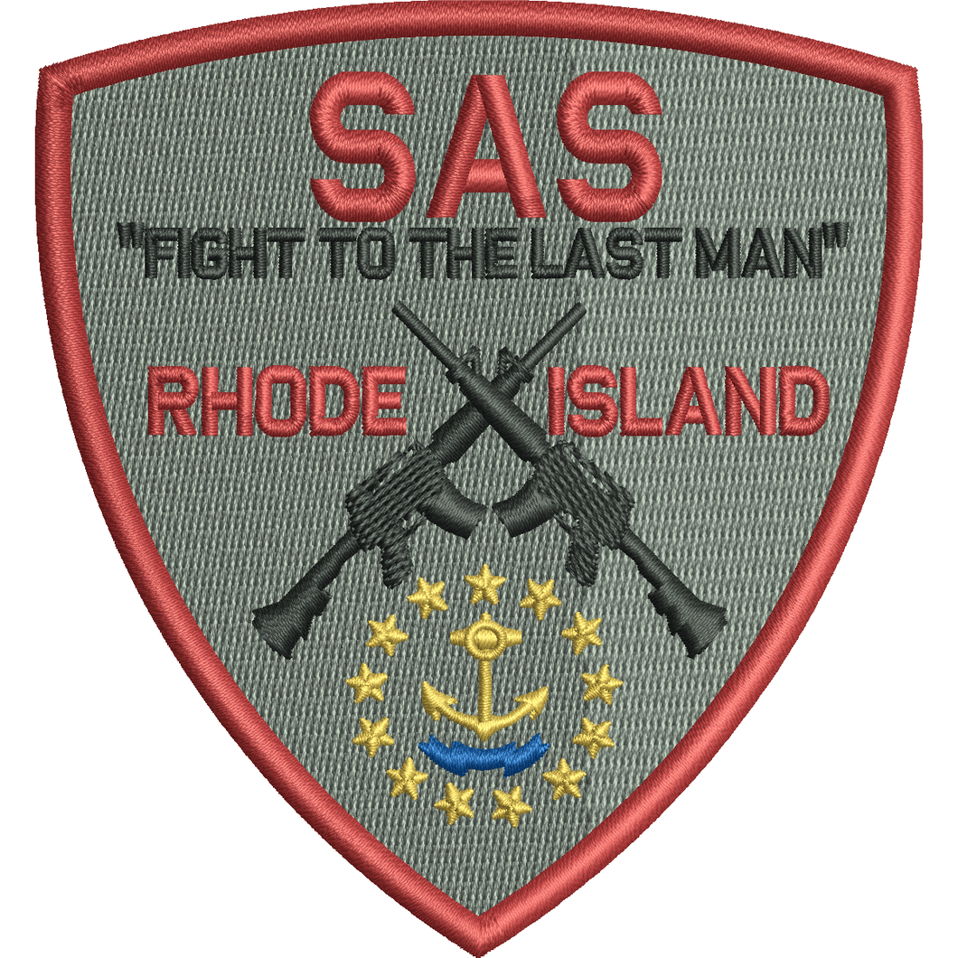 SAS Rhode Island Team - Shield Patch - Grey / Red