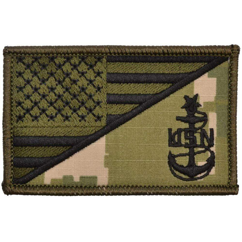 Tactical Gear Junkie Patches NWU Type III Navy SCPO Senior Chief Petty Officer USA Flag - 2.25x3.5 Patch