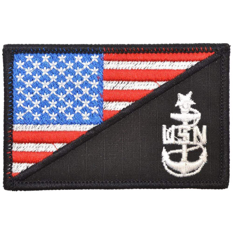 Tactical Gear Junkie Patches Full Color Navy SCPO Senior Chief Petty Officer USA Flag - 2.25x3.5 Patch