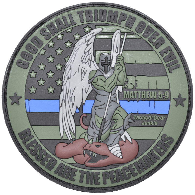 Tactical Gear Junkie Patches Olive Drab Good Shall Triumph Over Evil Saint Michael  - 3 inch PVC Patch