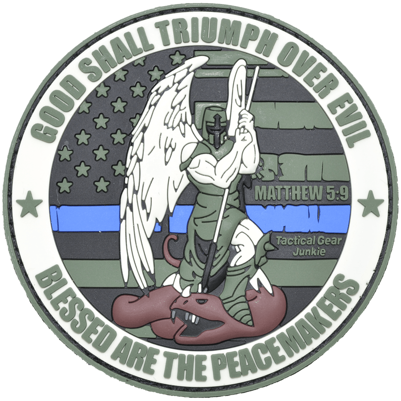 Tactical Gear Junkie Patches MultiCam Colors Good Shall Triumph Over Evil Saint Michael  - 3 inch PVC Patch