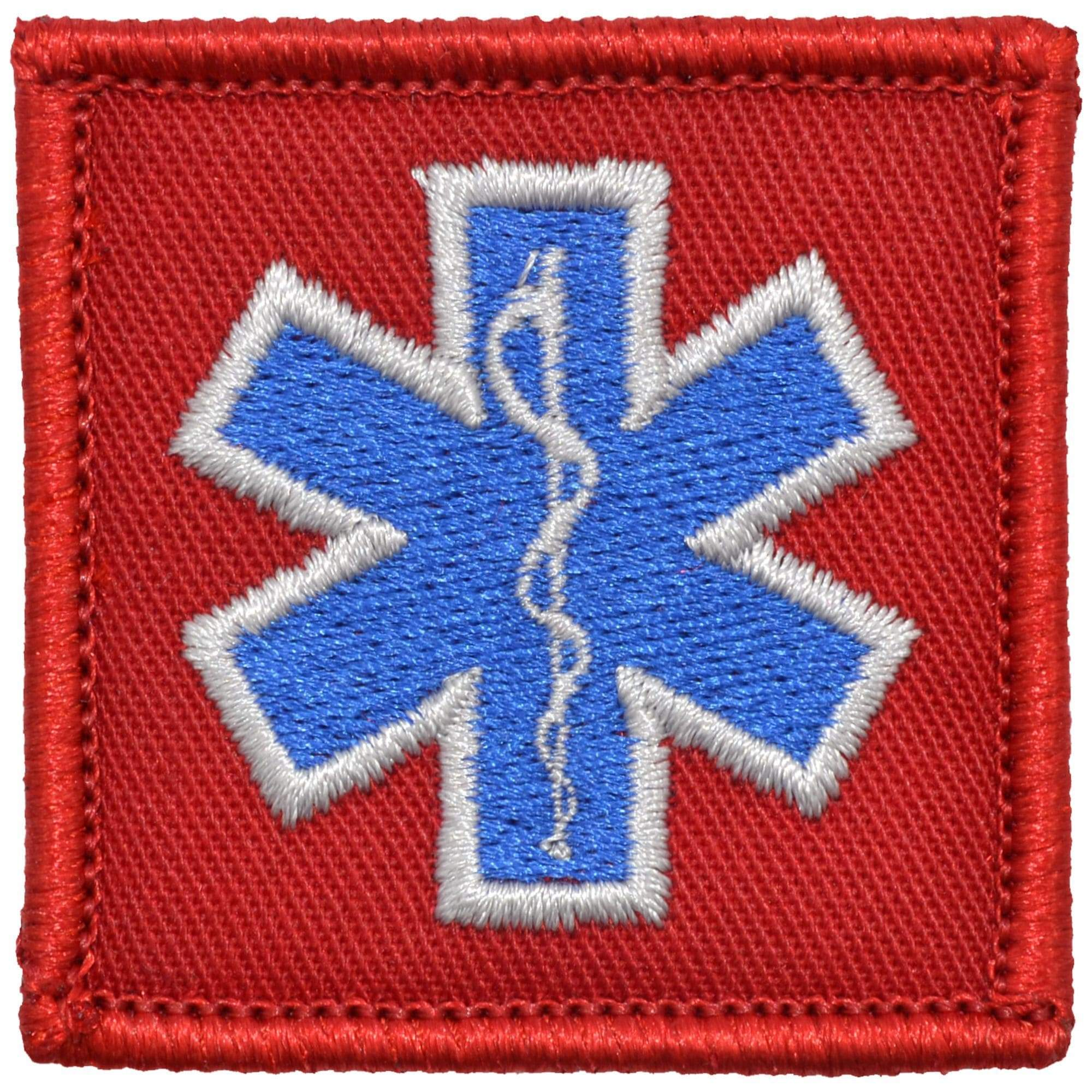 Tactical Gear Junkie Patches Red EMT Star of Life Caduceus - 2x2 Patch