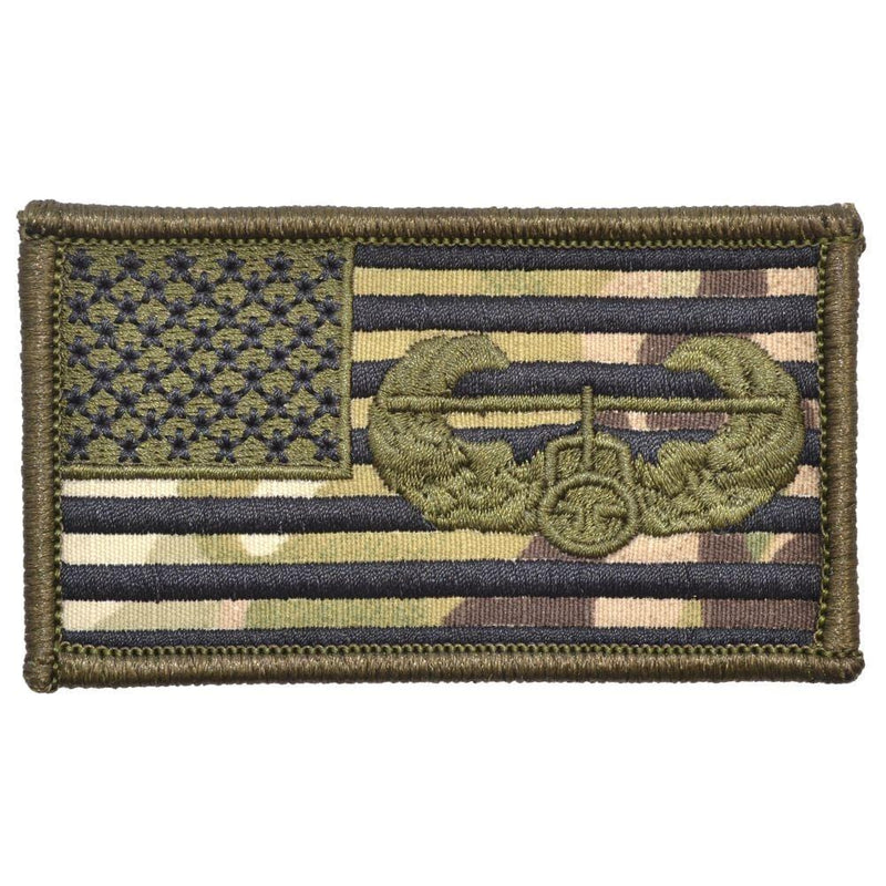 Tactical Gear Junkie Patches MultiCam USA Flag with Superimposed Air Assault Badge - 2x3.5 Patch