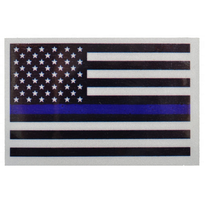 Reflective USA Flag Thin Blue Line - 3.75x2.5 inch Sticker