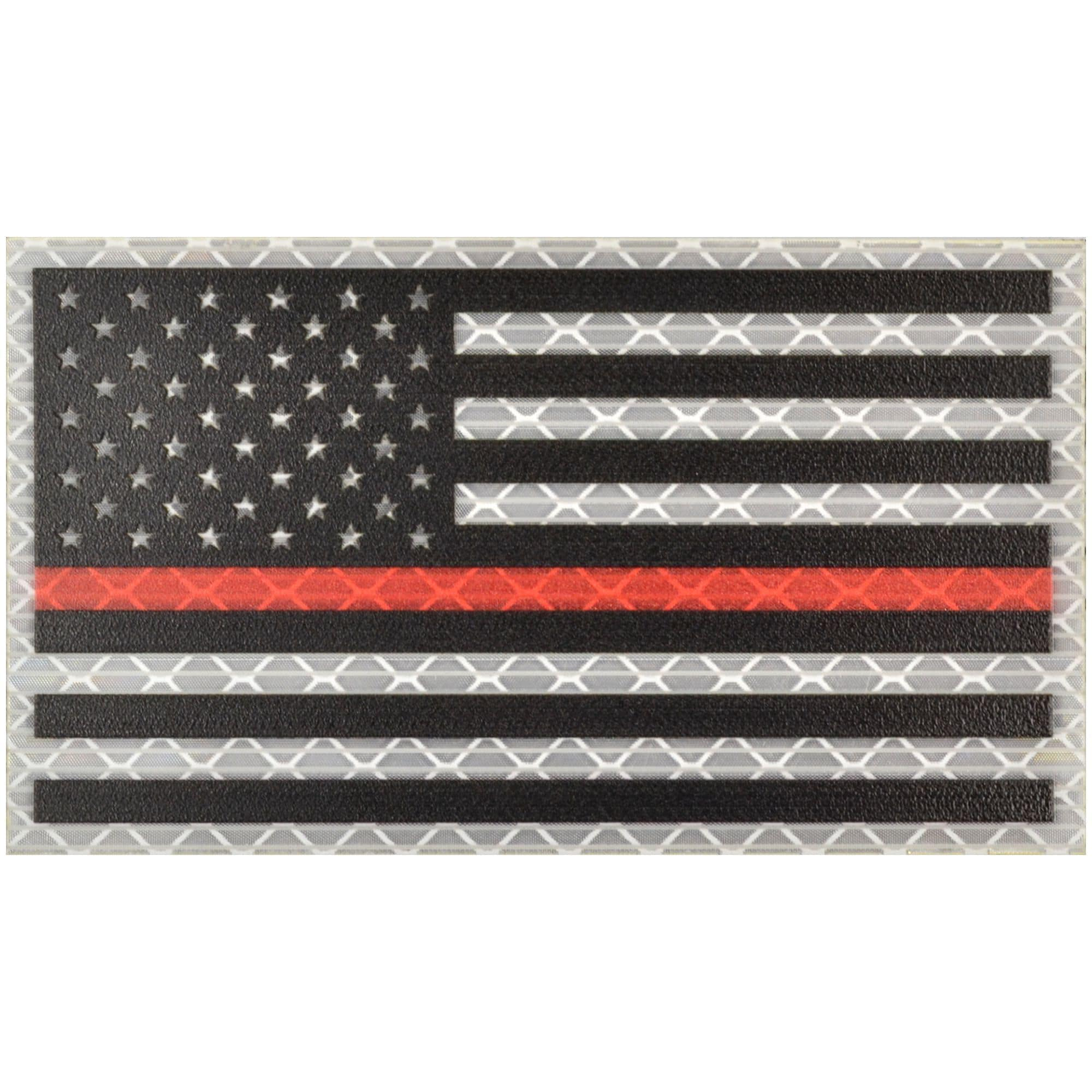Reflective Printed Thin Red Line USA Flag - 2x3.5 Patch