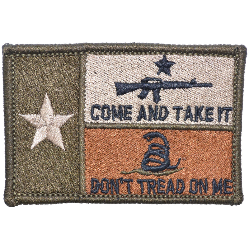 Tactical Gear Junkie Patches Coyote Brown Texas State Flag with Come & Take It AR15 and Gadsden Snake - 2x3 Patch