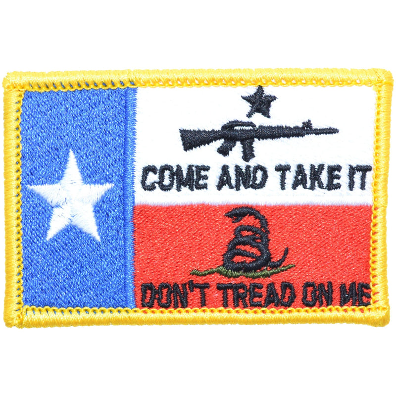 Tactical Gear Junkie Patches Full Color Texas State Flag with Come & Take It AR15 and Gadsden Snake - 2x3 Patch