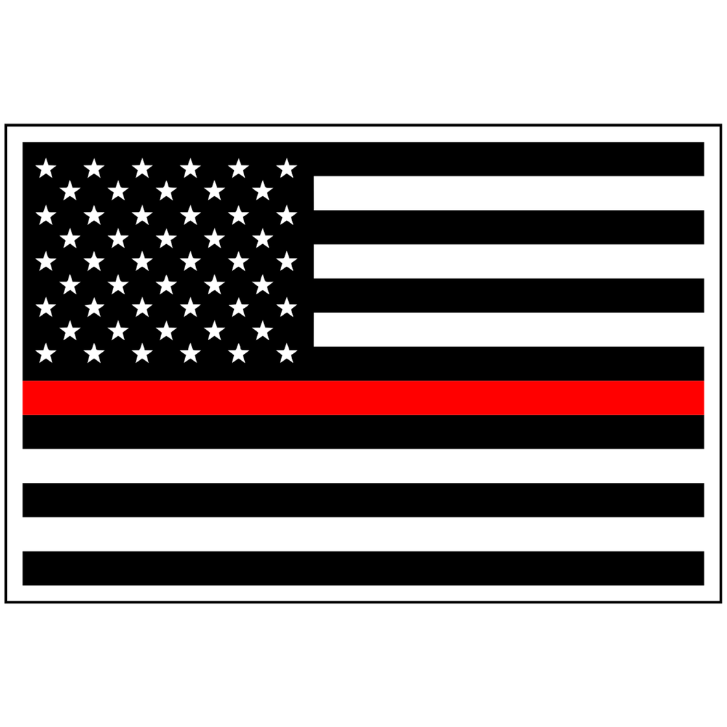 USA Flag Thin Red Line - 3.75x2.5 inch Magnet