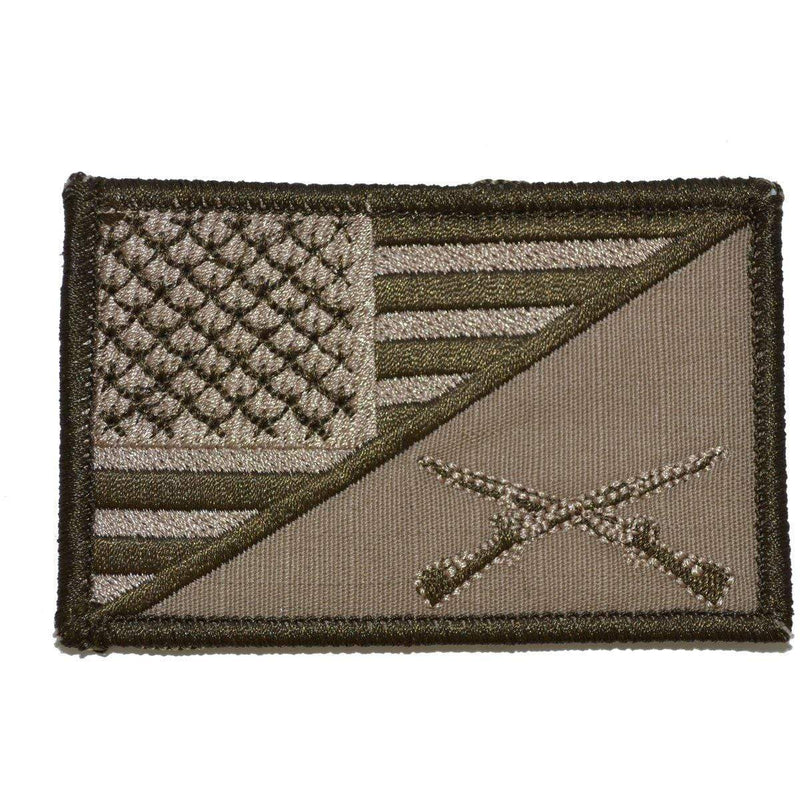 Tactical Gear Junkie Patches Coyote Brown Rifle Cross Infantry USA Flag - 2.25x3.5 Patch