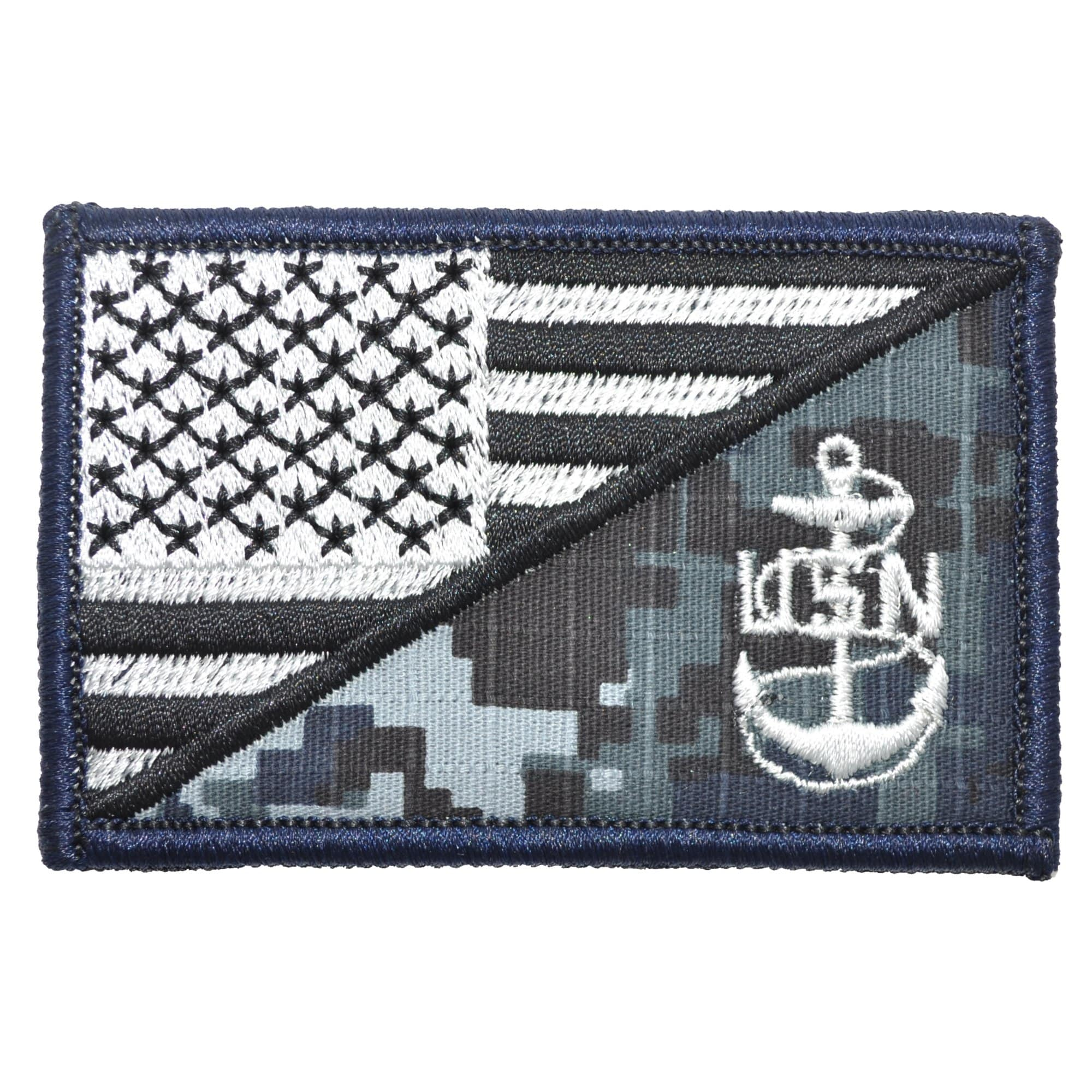Navy Chief Petty Officer Anchor USA Flag - 2.25x3.5 Patch