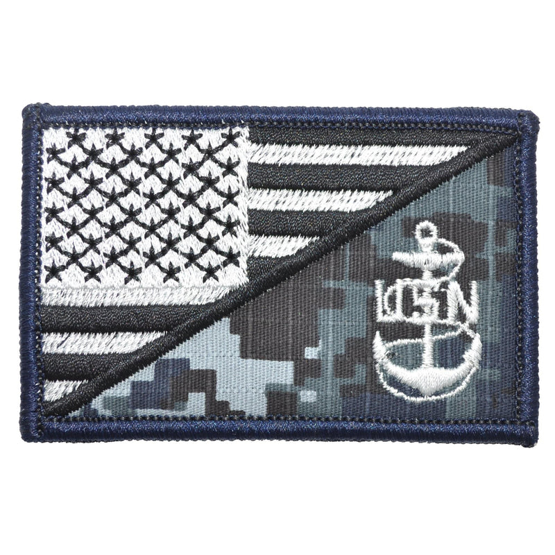 Tactical Gear Junkie Patches NWU Type I Navy Chief Petty Officer Anchor USA Flag - 2.25x3.5 Patch
