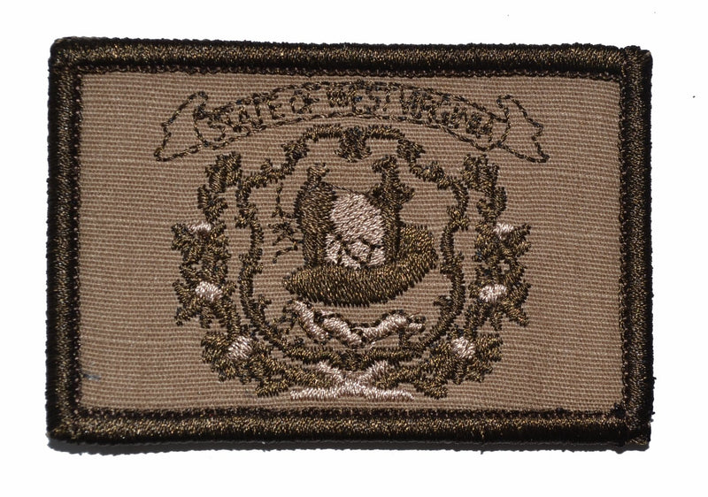 Tactical Gear Junkie Patches Coyote Brown West Virginia State Flag - 2x3 Patch