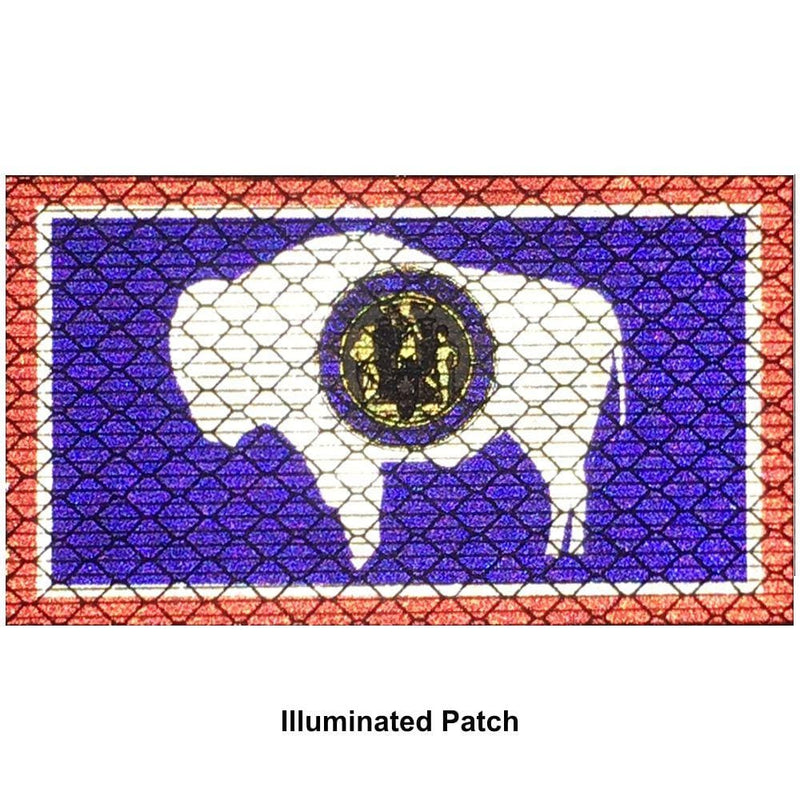 Reflective Wyoming State Flag - 2x3.5 Patch