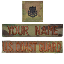 3 Piece Custom Name Tape & Rank Set w/ Hook Fastener Backing - Coast Guard