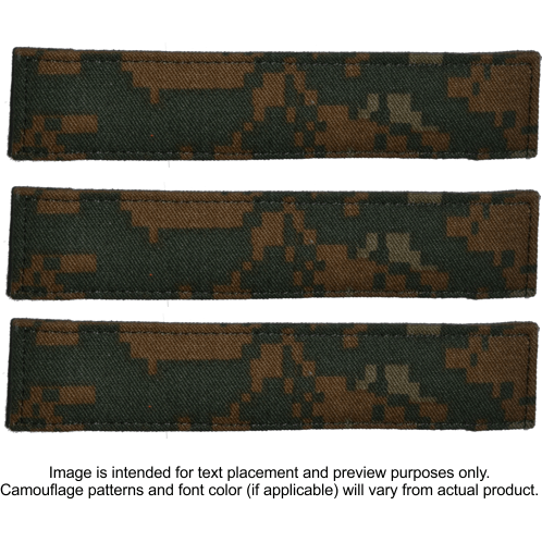 Tactical Gear Junkie Name Tapes 3 Piece Custom Name Tape Set w/ Hook Fastener Backing - Woodland Marpat