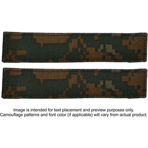2 Piece Custom Name Tape Set w/ Hook Fastener Backing - Woodland Marpat