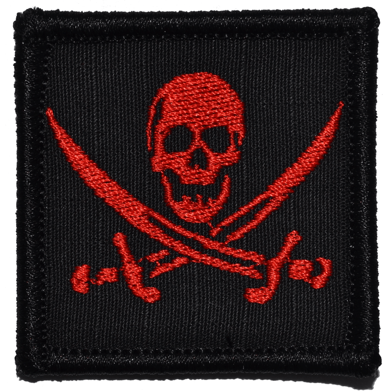 Tactical Gear Junkie Patches Black w/ Red Pirate Jolly Roger - 2x2 Patch