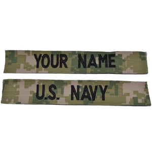 NAVY NWU TYPE III AOR 2 Forest - 2 PIECE NAME TAPE SET SEW ON (NO FASTENER)