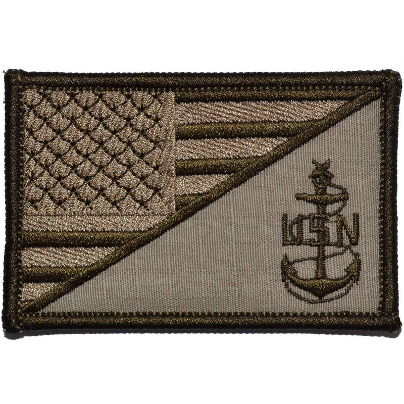 Tactical Gear Junkie Patches Desert Sand Navy SCPO Senior Chief Petty Officer USA Flag - 2.25x3.5 Patch