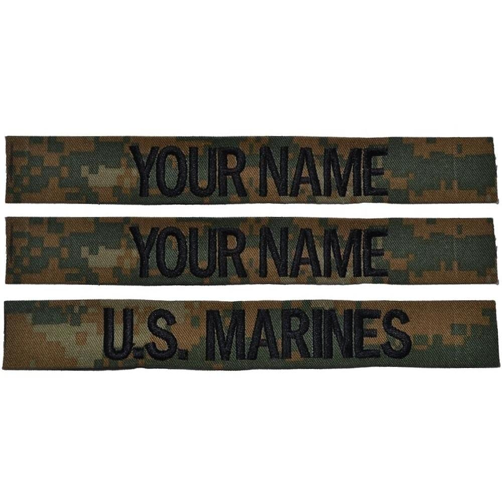 3 Piece Name Tape Set Sew On (no Hook Backing) - Woodland Marpat