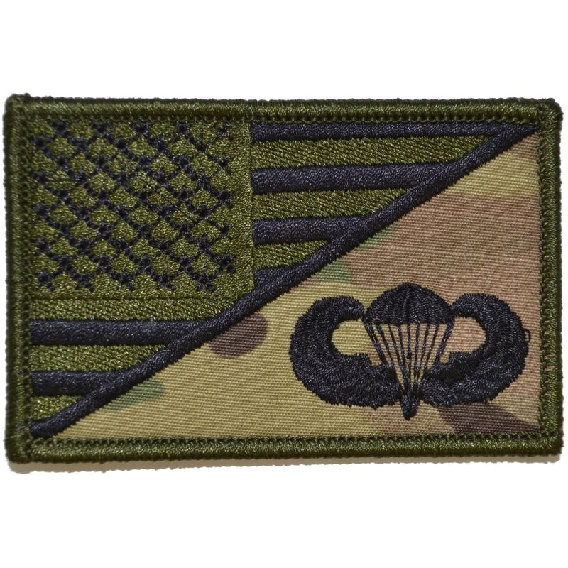 Tactical Gear Junkie Patches MultiCam Parachute Jump Wings USA Flag - 2.25x3.5 Patch