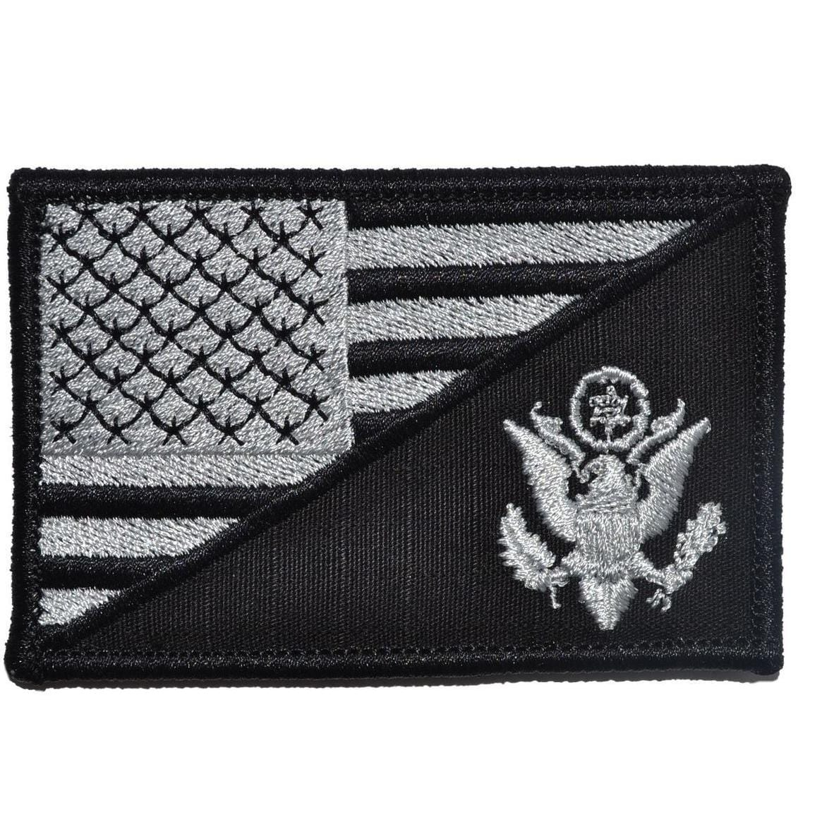 Tactical Gear Junkie Patches Black US Army Crest USA Flag - 2.25x3.5 Patch