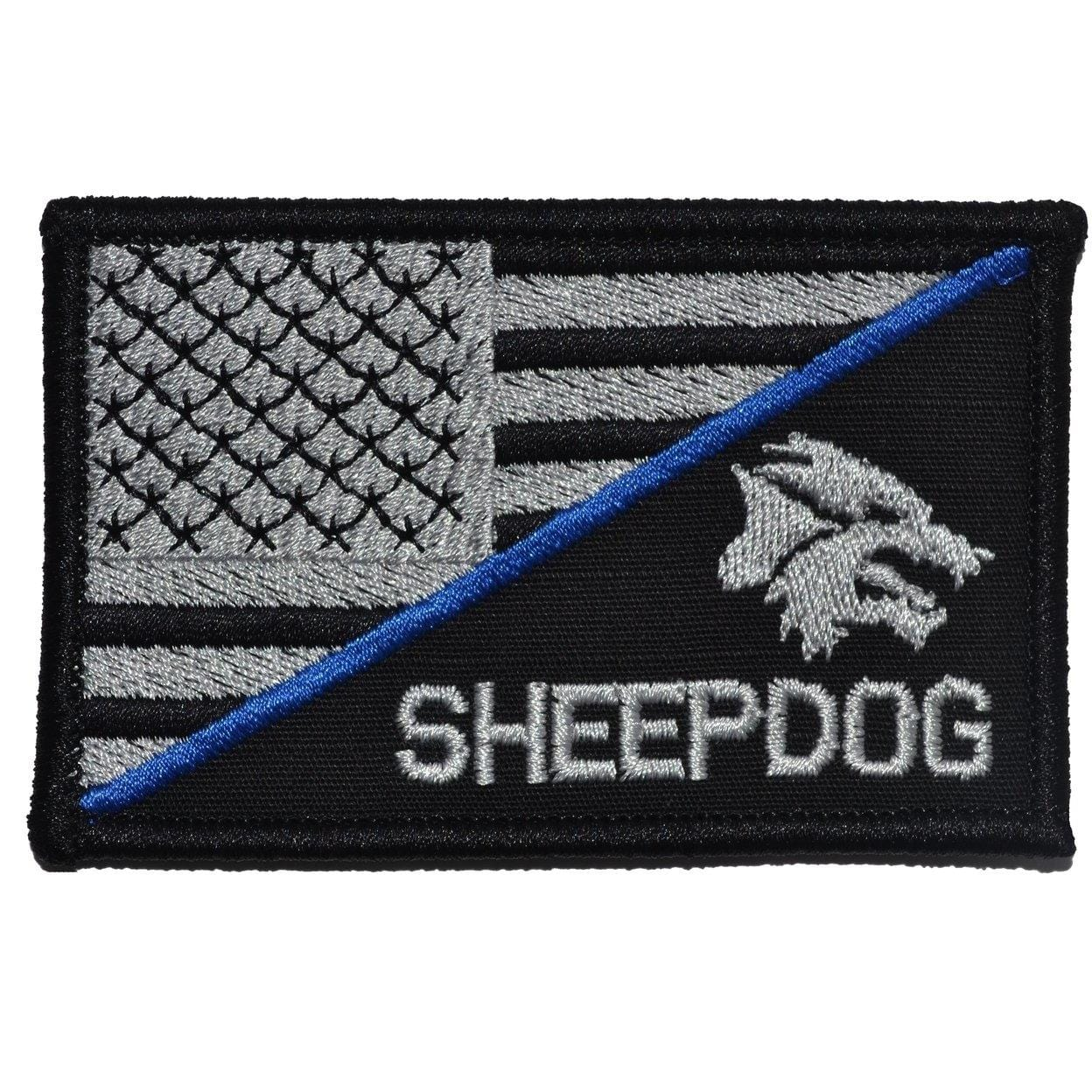 Sheepdog Head with Thin Blue Line USA Flag 2.25 x 3.5 inch Patch
