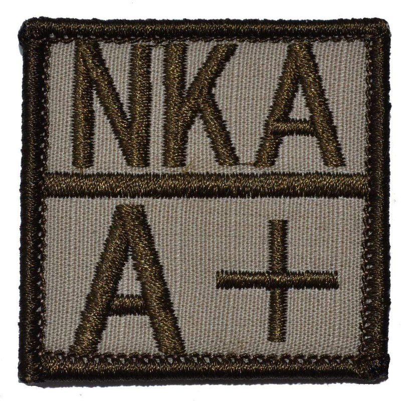 Tactical Gear Junkie Patches Desert Sand Blood Type and Allergy - 2x2 Patch