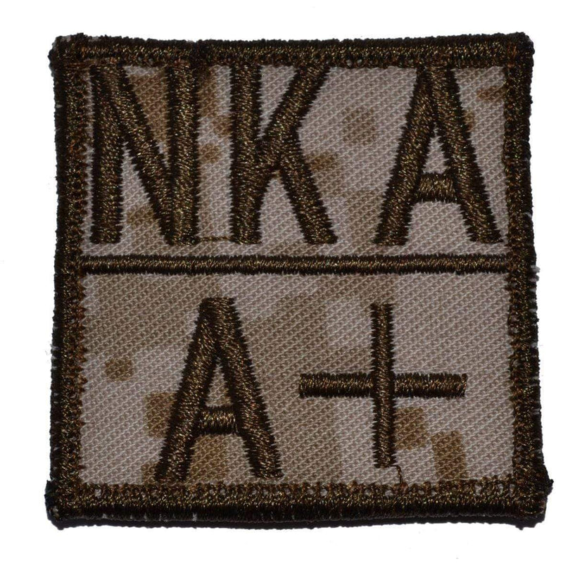 Tactical Gear Junkie Patches MARPAT Desert Blood Type and Allergy - 2x2 Patch
