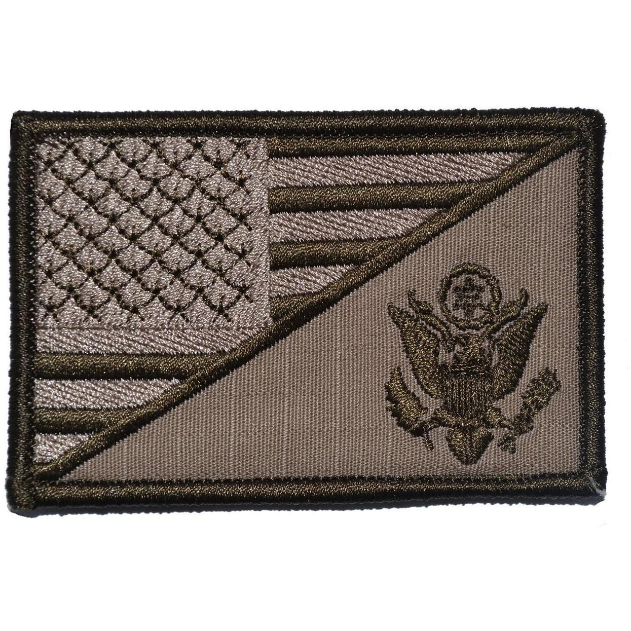 Tactical Gear Junkie Patches Coyote Brown US Army Crest USA Flag - 2.25x3.5 Patch