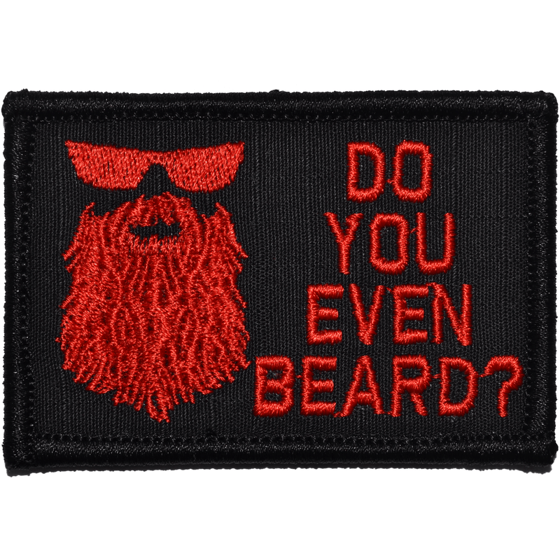 Tactical Gear Junkie Patches Black w/ Red Do You Even Beard? - 2x3 Patch