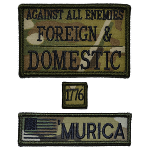 Patch Set:  Against All Enemies Foreign and Domestic 2x3, MURICA with USA Flag 1x3.75, 1776 1x1
