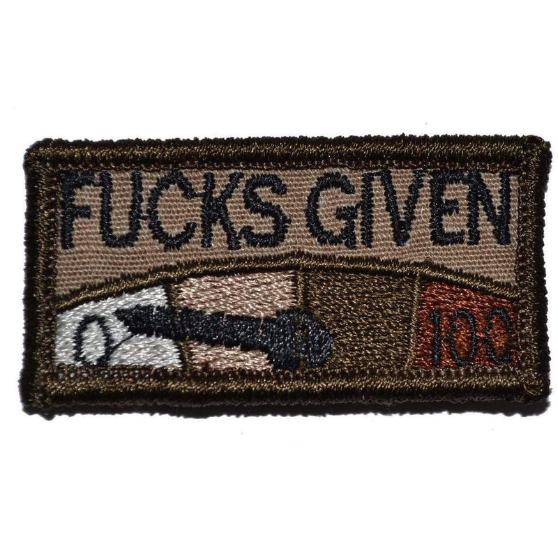 Tactical Gear Junkie Patches Coyote Brown Zero Fucks Given Meter - 1x2 Patch