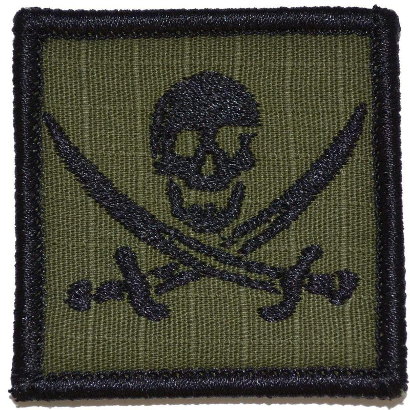 Tactical Gear Junkie Patches Olive Drab Pirate Jolly Roger - 2x2 Patch