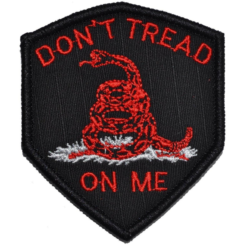 Tactical Gear Junkie Patches Black w/ Red Don't Tread On Me Gadsden Snake - 2.5x3 Shield Patch