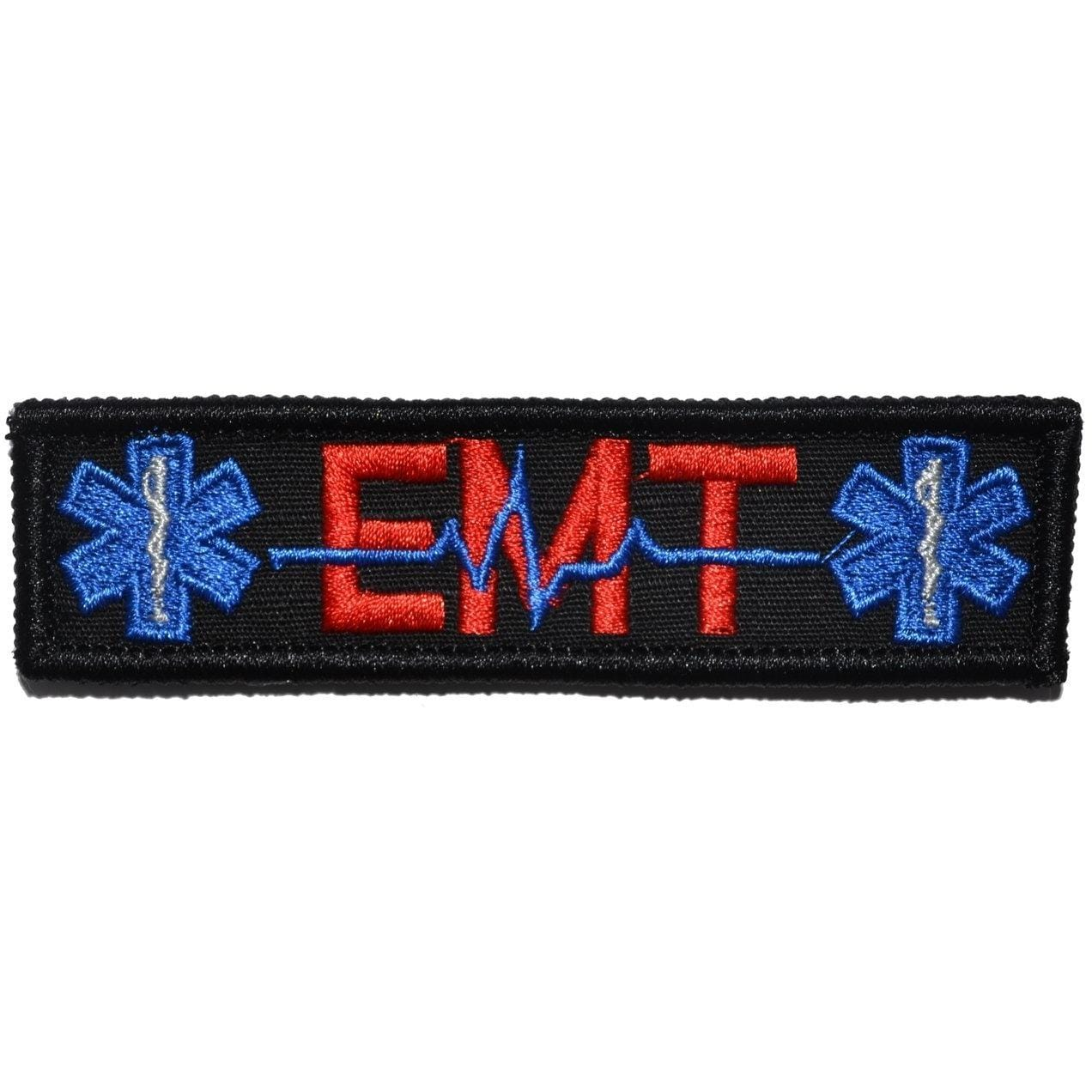 Tactical Gear Junkie Patches Black w/ Red EMT Heartbeat and Stars of Life - 1x3.75 Patch
