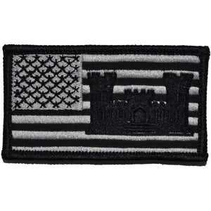 USA Flag with Superimposed Army Engineer Castle - 2x3.5 Patch