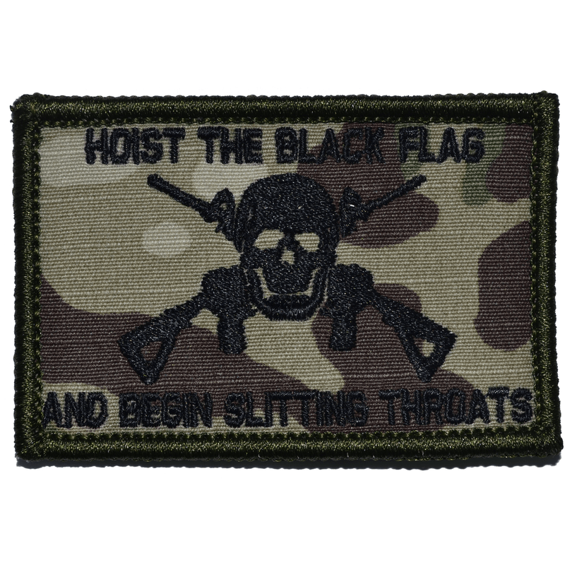 Hoist The Black Flag and Begin Slitting Throats Jolly Roger - 2x3 Patch