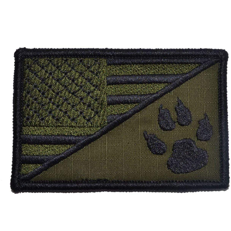 Tactical Gear Junkie Patches Olive Drab K9 Tracker Paw USA Flag - 2.25x3.5 Patch