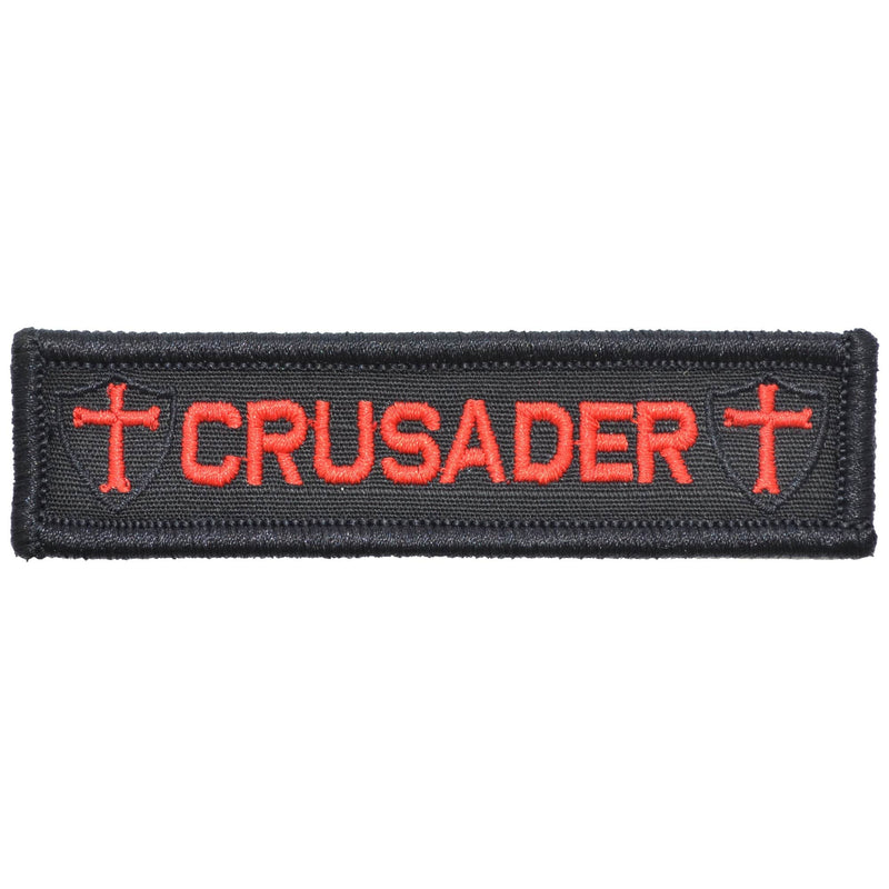 Tactical Gear Junkie Patches Black w/ Red Crusader Templar Cross - 1x3.75 Patch